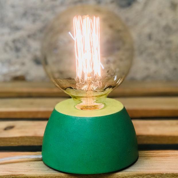 lampe béton bleu vert design fait-main création made in france