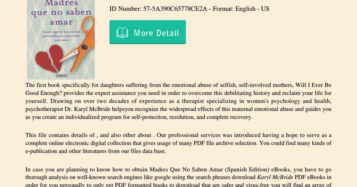 Madres Que No Saben Amar Spanish Edition Pdf Google Drive