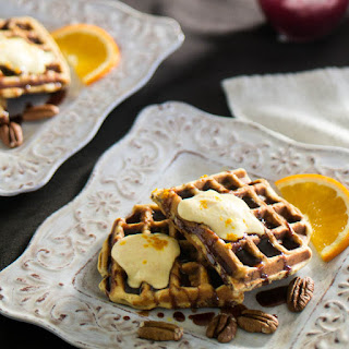 Bacon & Pecan Waffle With Cinnamon-Red Chile Syrup, and Orange Mascarpone