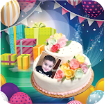 Birthday cake with photo And Name on  cake icon