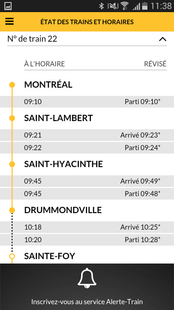VIA Rail – Capture d'écran