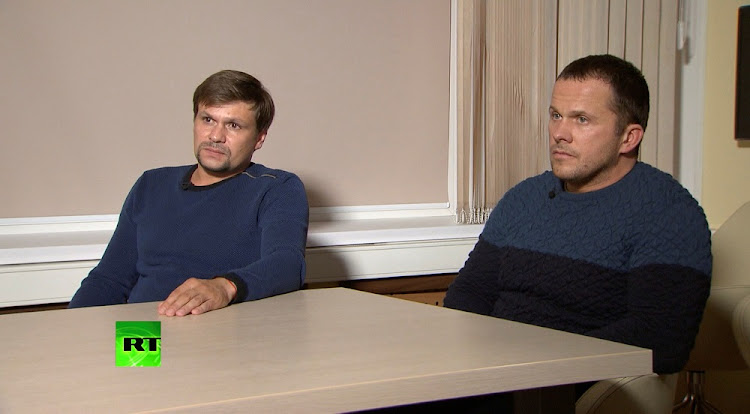 A still image, taken from video footage and released by RT International News channel, shows two Russian men, Alexander Petrov and Ruslan Boshirov, who have the same names as those accused by Britain over the poisoning of former Russian spy Sergei Skripal and his daughter, Yulia, at an unidentified location in Russia, September 13 2018. Picture: RT/REUTERS