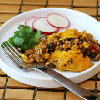 Quick and Easy Tex-Mex Beef and Rice Bake.