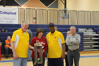 Photo: Roseann Kirlin presents runner-up trophy for the 10 foot A division to the coaches of Long Island.