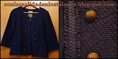 Chaqueta azul estilo Chanel - Cortefiel