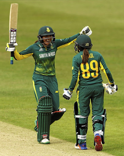 Winning start: SA's Sune Luus, left, celebrates with teammate Shabnim Ismail, who hit a four to win the match against Pakistan on Sunday. Picture: REUTERS