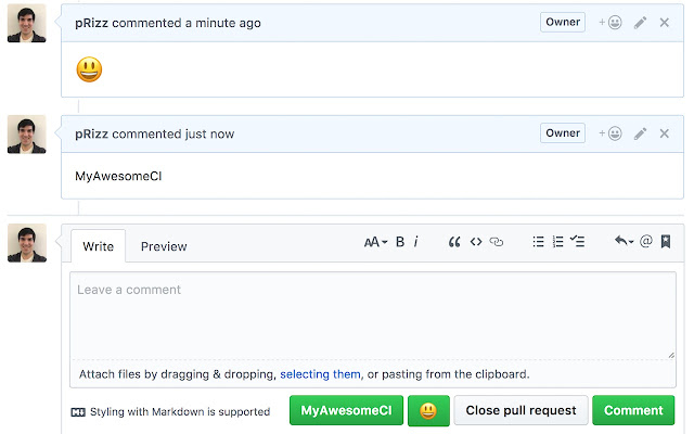 GitHub One Click Comment