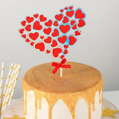 Топпер на торт «Сердце в сердце», 23×12,5 см, цвет красный