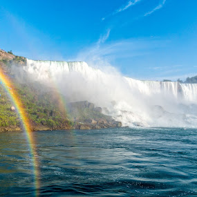 Double rainbow Niagara by Ty Yang - Landscapes Waterscapes ( double rainbow, blue, niagara falls, waterfall, rainbow )