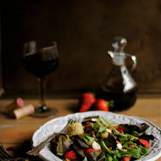 Strawberry, Pecan, and Mixed Green Salad with Balsamic Vinaigrette.