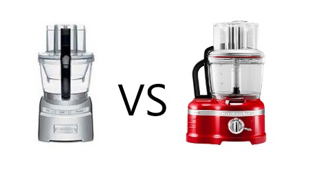 """A Cuisinart and a Kitchenaid food processor separated by the word """"VS."""""""