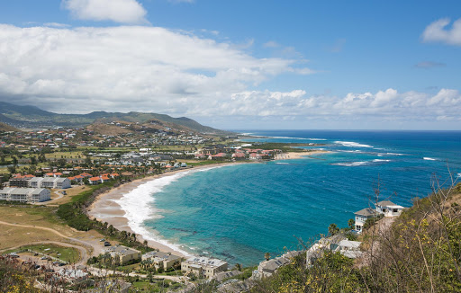 View of sweeping Half Moon Bay on the Atlantic side of St. Kitts, seen from Monkey Hill.