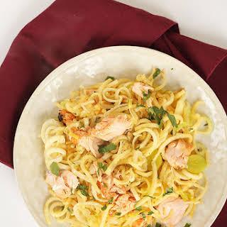Lemon-Oregano Salmon and Leek Parsnip Pasta.