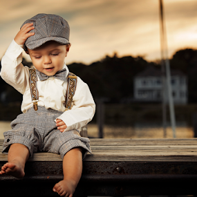 Child rustic sunset by Joseph Humphries - Babies & Children Child Portraits ( water, child, sunset, precious, children, marina, suspenders )