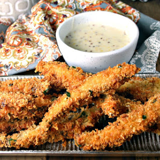Portabello Fries with Béchamel Mustard Dipping Sauce