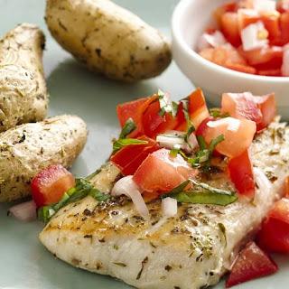 Skinny Seared Fish with Fresh Tomato Salsa.