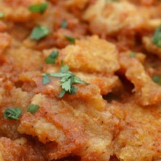 Chicharrón en Salsa Roja (Pork Cracklings in Mexican Red Salsa).