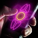 Neon hand fidget spinner icon