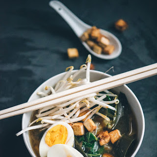 Japanese Miso and Seaweed Noodle Soup.