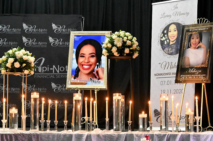 The memorial service of Nomasonto Maswanganyi, popularly known as Mshoza, took place on November 25, 2020 in Johannesburg.