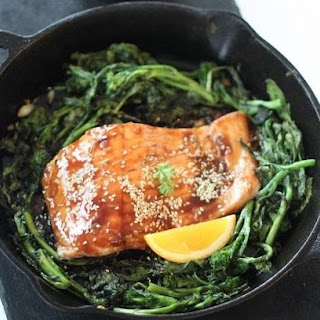 Hoisin Glazed Orange Salmon over Broccoli Rabe
