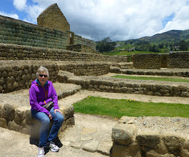 Photo: Sheila near the main Inca structure
