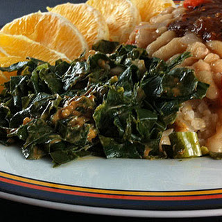 Steamed Collards with Lime-Peanut Sauce