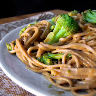 Chinese Noodles with Broccoli in Peanut Sauce.