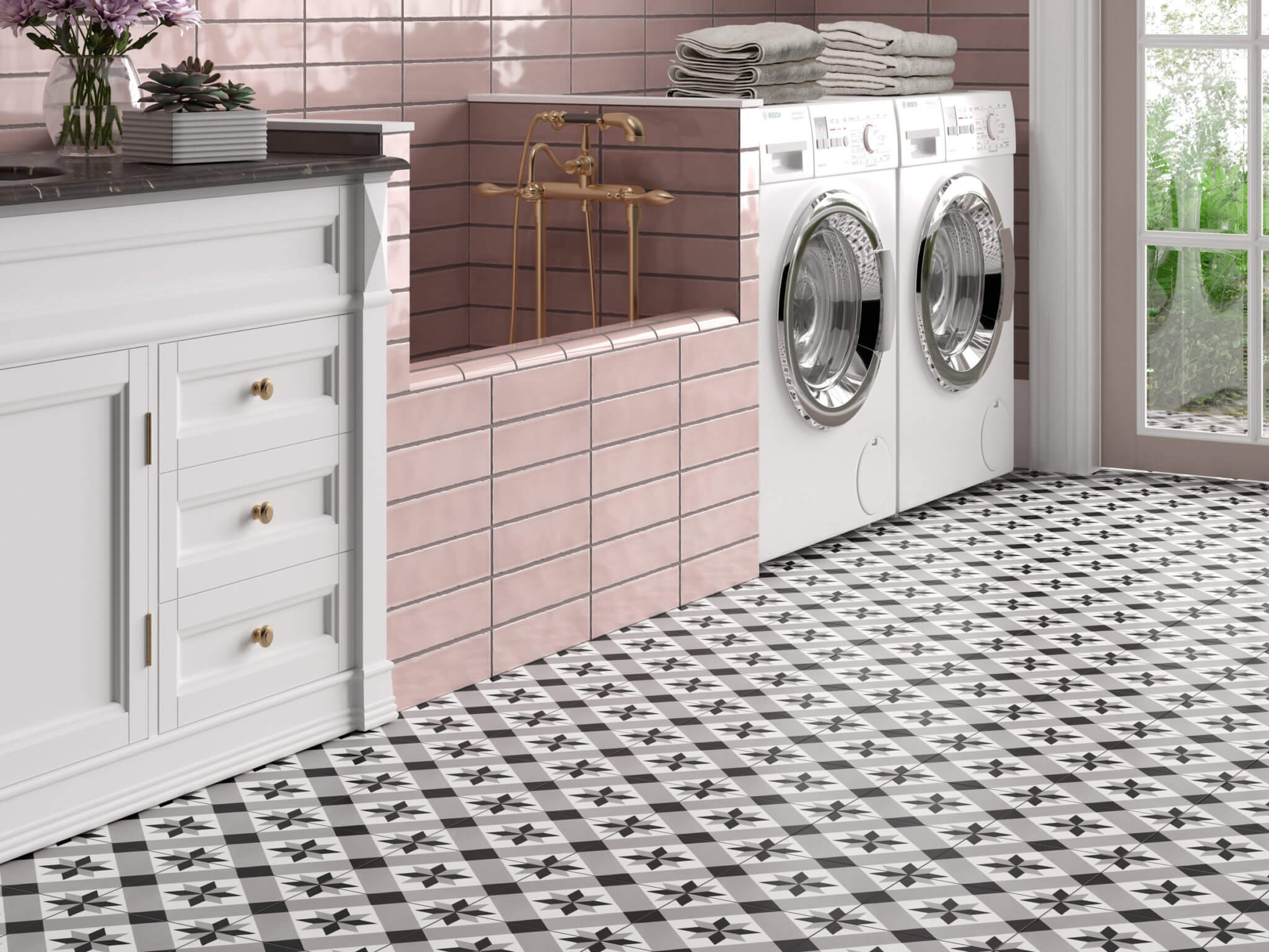 Laundry room with pink tile dog shower and black and white graphic tile flooring