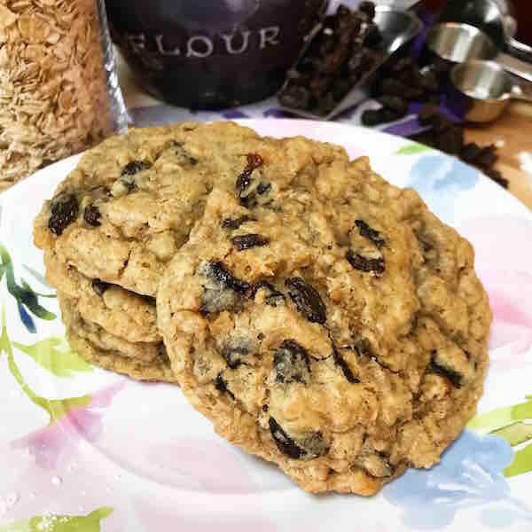 "Gluten Free ""Feelin' My Oats-Meal"" Cookies. Moist, dense and chewy, this cookie is packedwith raisins."