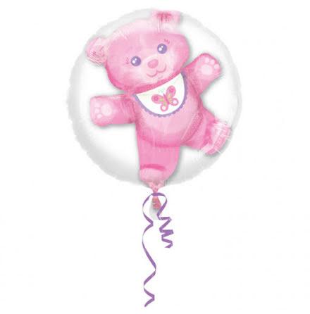 Dubbelballong Nalle rosa
