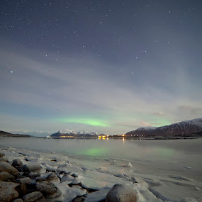 Frozen lake with weak aurora above by Benny Høynes - Landscapes Starscapes ( canon, høynes, mk2, aurora, lake, benny, frozen, 5d )