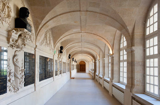 gallery-Val-de-Grace-Paris.jpg - Gallery of the cloister of the church of Val-de-Grâce. The church's dome dome is a notable feature of Paris's skyline.