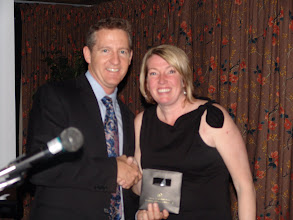 Photo: President Christine Kemp thanked Kent Peterson for his presentation and gave him a small gift