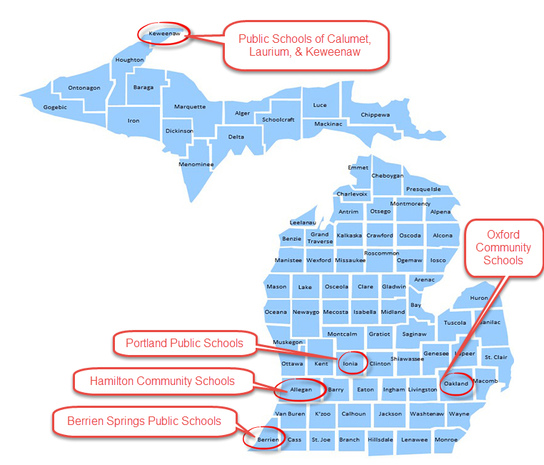 Map of Michigan counties indicating the location of each participating school district.