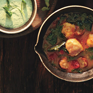 Mixed-Greens and Sausage Soup with Cornmeal Dumplings.