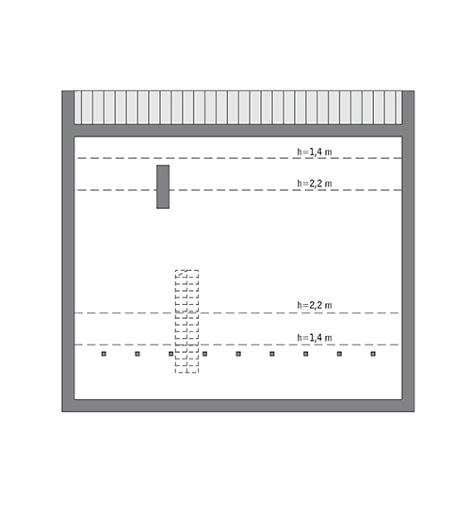 Przejrzysty - wariant IX - C365i - Rzut poddasza do indywidualnej adaptacji (62,8 m2 powierzchni użytkowej)