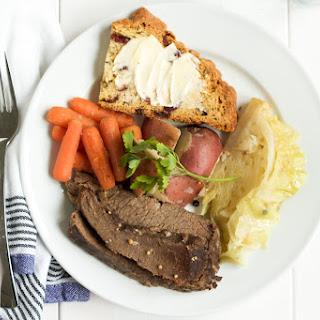Corned Beef and Cabbage with Carrots and Potatoes.