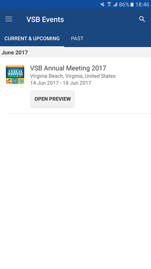 Virginia State Bar Events- screenshot