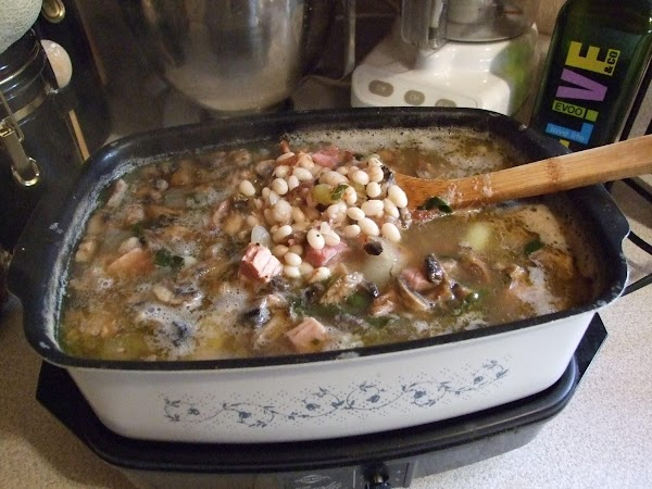 Day 3 Directions: ~Place broth and beans, chunked onion, clove and salt in slow cooker...