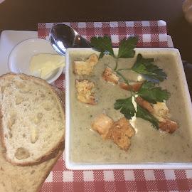 I love Mushroom Soup by Dawn Simpson - Food & Drink Plated Food ( mushrooms, crusty bread, lunch, winter, mushroom soup, dinner )