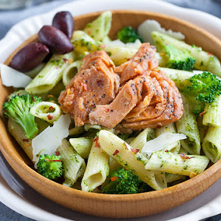 Wild Pink Salmon and Broccoli Penne Pasta.