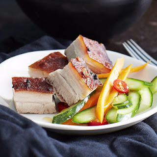 Soy Glazed Pork Belly with Pickled Vegetables.
