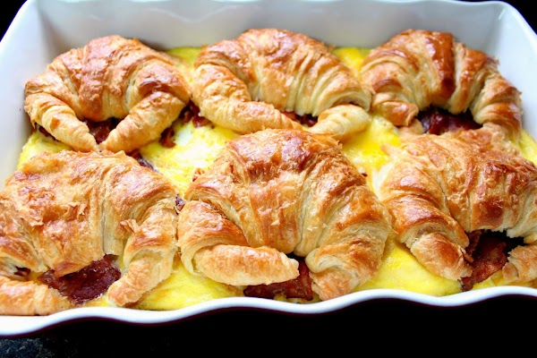 Croissant eggs cooling in baking dish.