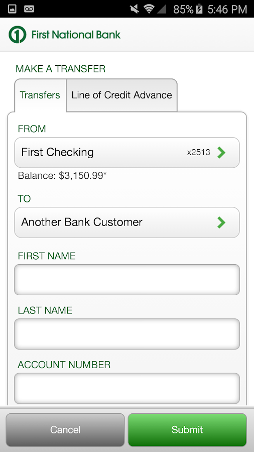 First National Bank of Omaha- screenshot