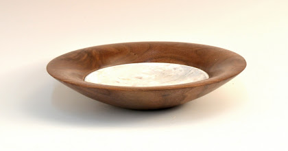 "Photo: Clif Poodry - Small Bowl with Insert - 8"" - Walnut, Acryllic 'Marble'"