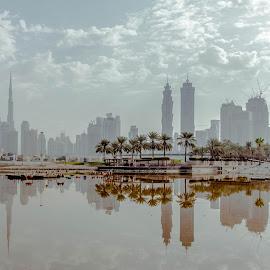 Horizon from Al Safa Park by Adam dela Pedra - City,  Street & Park  Skylines ( clouds, reflection, park, horizon, cityscape )