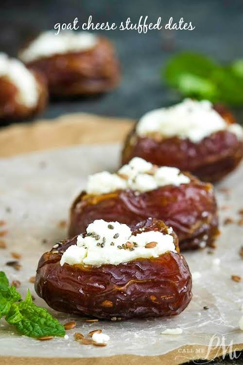 """Goat Cheese Stuffed Dates """"Quick, simple, yet elegant, these Goat Cheese Stuffed..."""