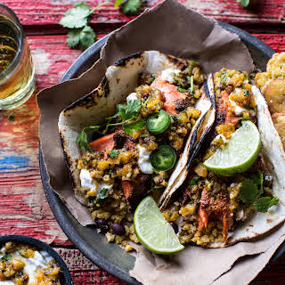 Jamaican Jerk Fish Tacos with Plantain Fried Rice and Pineapple Salsa..