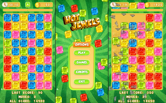 Hot jewels matching game